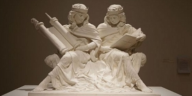 Synagoga and Ecclesia in Our Time, Artwork by sculptor Joshua Koffman. Exhibited in Philadelphia in July 2015.